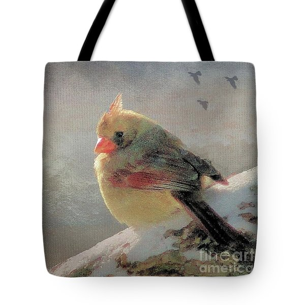 Female Cardinal V Tote Bag by Janette Boyd