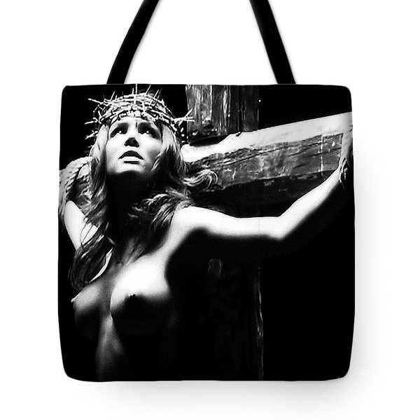 Female Christ Black And White Tote Bag