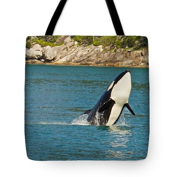 Tote Bag featuring the photograph Female Orca Cheval Island Alaska by Michael Rogers