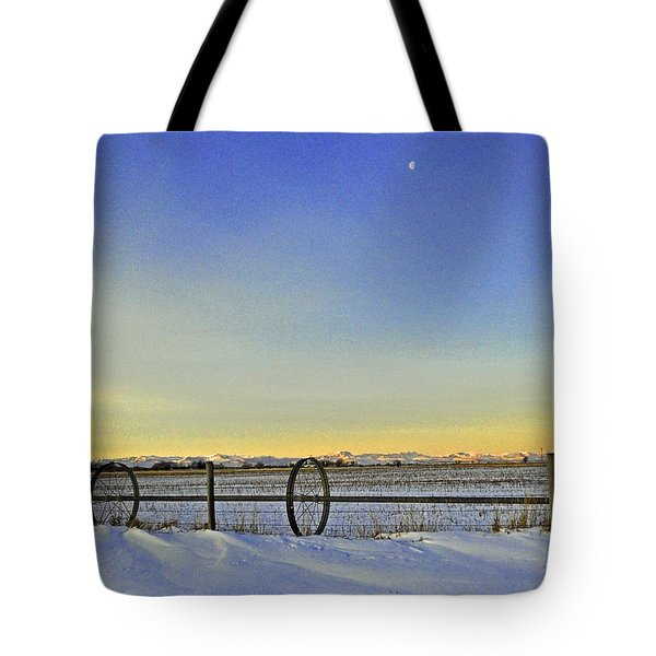 Fence And Moon Tote Bag by Desiree Paquette