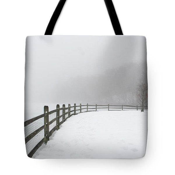 Fence In Fog Tote Bag
