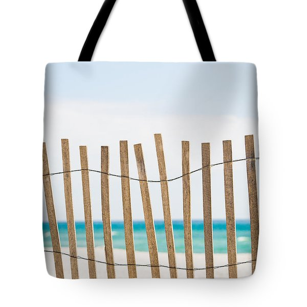 Fence On The Beach Tote Bag by Shelby  Young