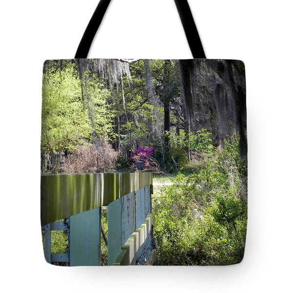 Fence Points The Way Tote Bag by Patricia Greer