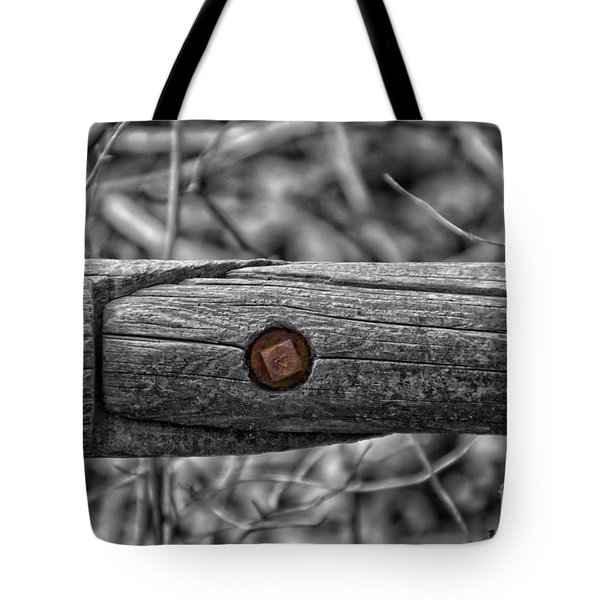 Fence Rail With Rusty Bolt Tote Bag by Thomas Woolworth