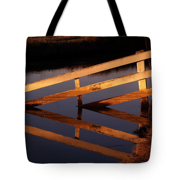 Fenced Reflection Tote Bag by Bill Gallagher