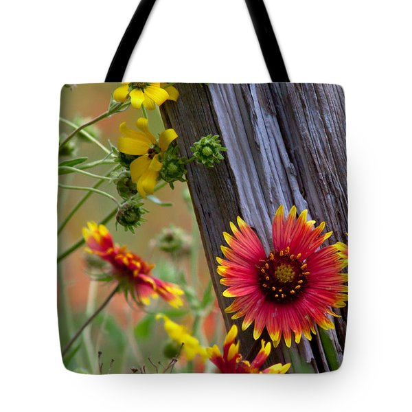Fenceline Wildflowers Tote Bag
