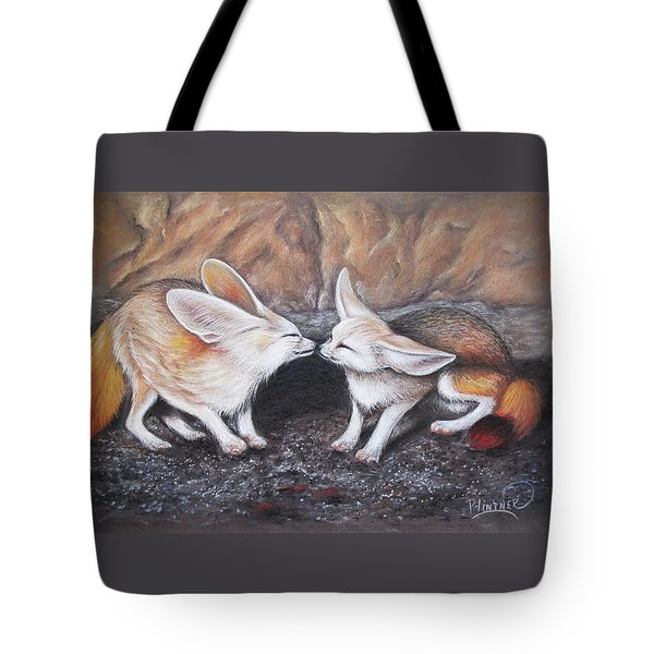 Tote Bag featuring the drawing Fennec Love by Patricia Lintner