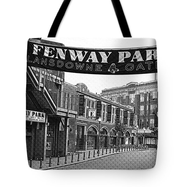 Fenway Park Banner Black And White Tote Bag