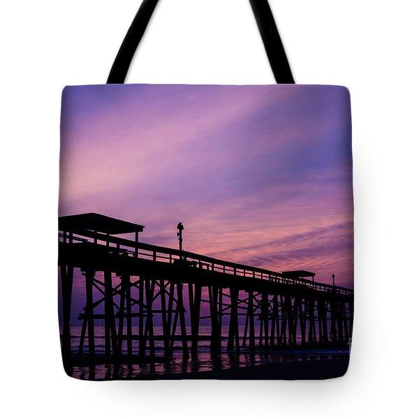 Fernandina Fishing Pier At Sunrise Tote Bag by Dawna  Moore Photography