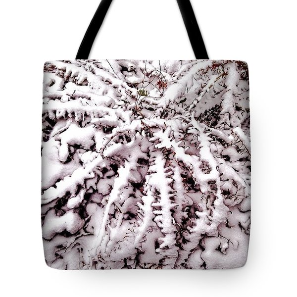 Ferns In Snow Edited In #snapseed And Tote Bag