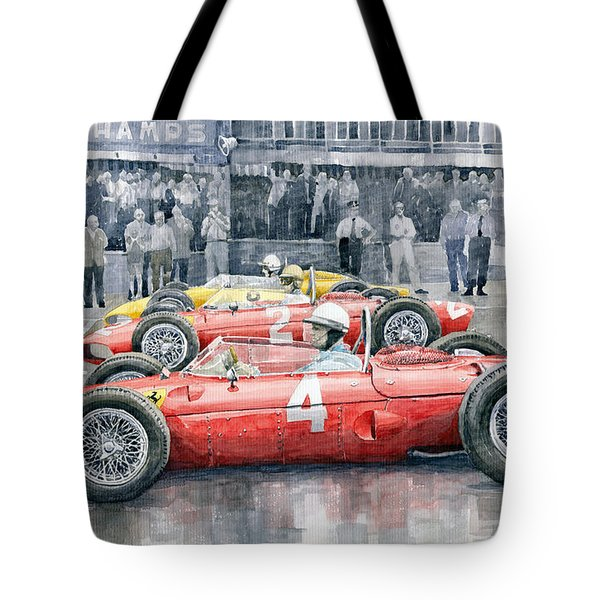 Ferrari 156 Sharknose 1961 Belgian Gp Tote Bag by Yuriy Shevchuk
