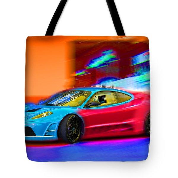 Tote Bag featuring the photograph Ferrari Baby Blue by Gunter Nezhoda