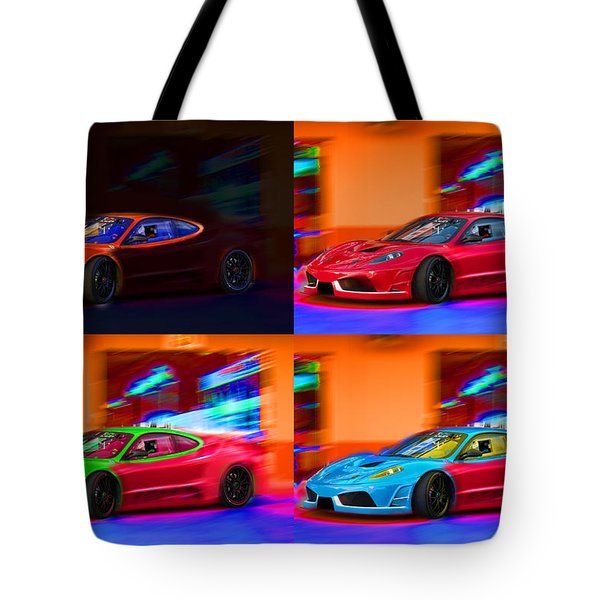 Tote Bag featuring the photograph Ferrari Collage by Gunter Nezhoda