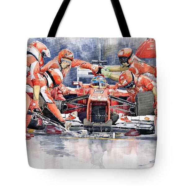 2012 Ferrari F 2012 Fernando Alonso Pit Stop Tote Bag