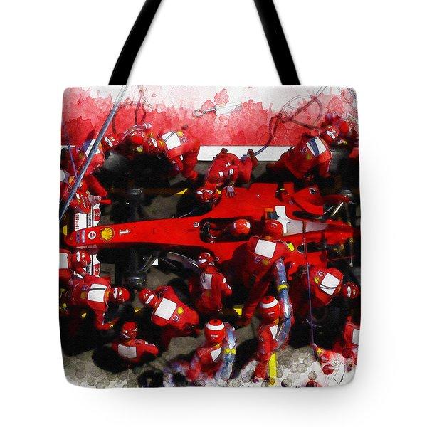 Ferrari Make Changes In Pit Lane Tote Bag