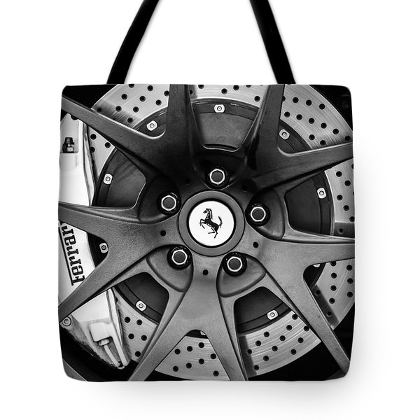 Tote Bag featuring the photograph Ferrari Wheel Emblem - Brake Emblem -0430bw by Jill Reger