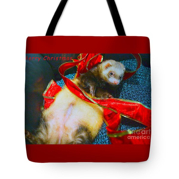 Tote Bag featuring the photograph Ferrety Christmas IIi by Cassandra Buckley
