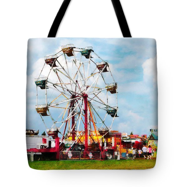 Ferris Wheel Against Blue Sky Tote Bag by Susan Savad