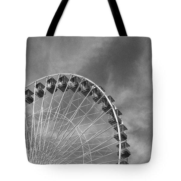 Ferris Wheel Black And White Tote Bag