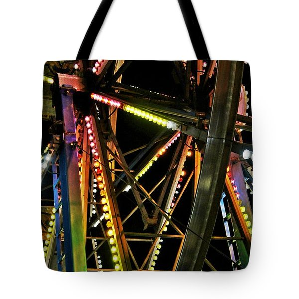 Tote Bag featuring the photograph Lit Ferris Wheel  by Lilliana Mendez