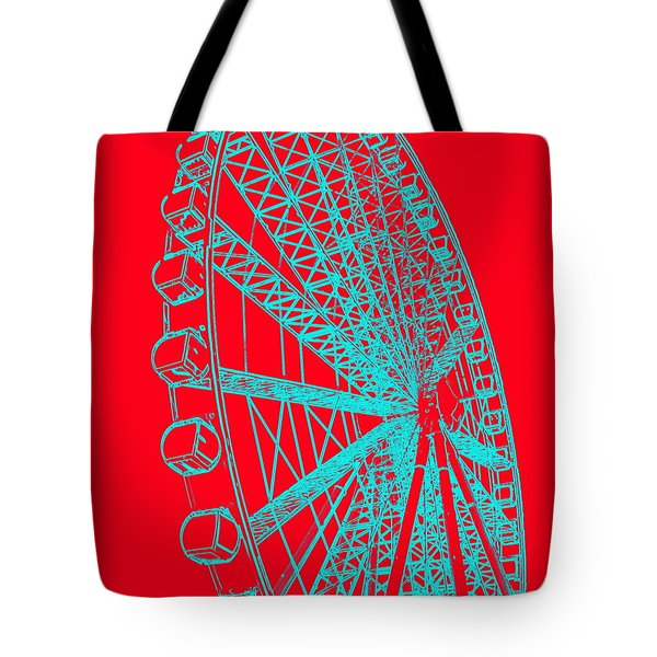 Ferris Wheel Silhouette Turquoise Red Tote Bag
