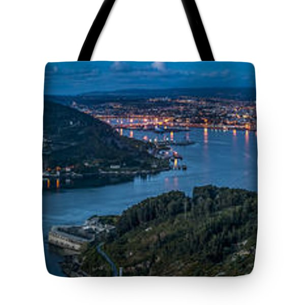 Tote Bag featuring the photograph Ferrol's Estuary Panorama From La Bailadora Galicia Spain by Pablo Avanzini