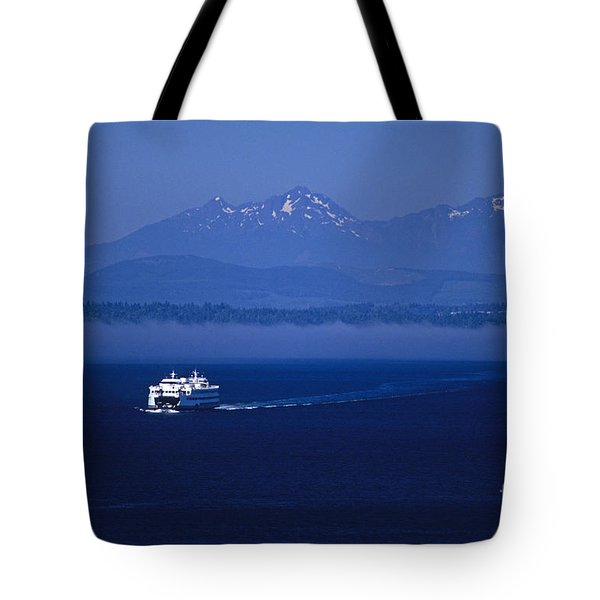 Ferry Boat In Puget Sound With Olympic Mountains Tote Bag