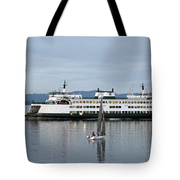 Ferry Issaquah And Sailboats Tote Bag by E Faithe Lester