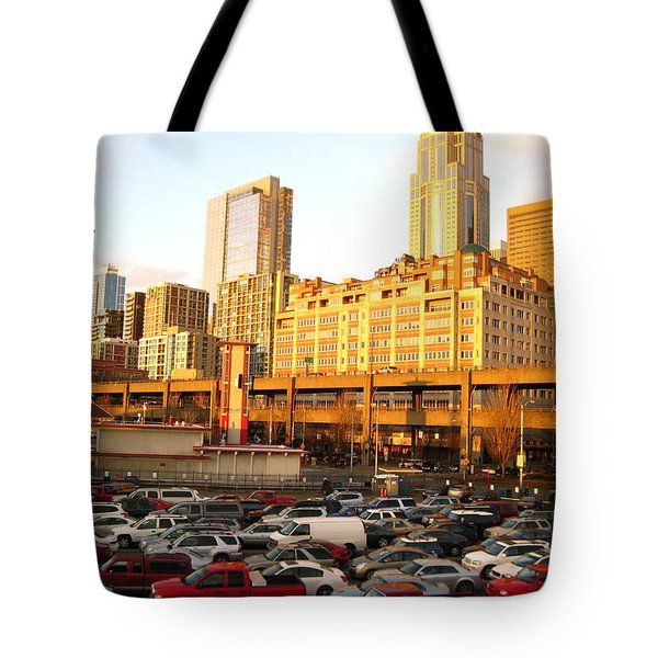 Ferry Lines At Sunset Tote Bag