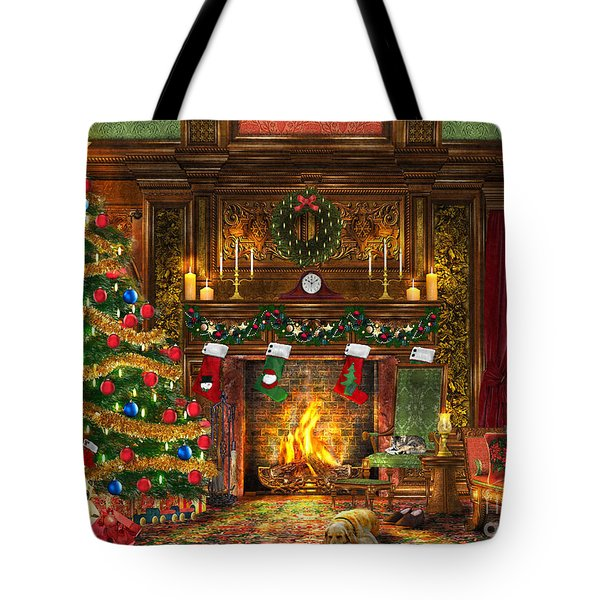Festive Fireplace Tote Bag by Dominic Davison