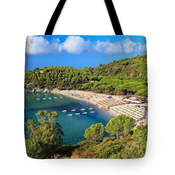 Fetovaia Beach - Elba Island Tote Bag by Antonio Scarpi