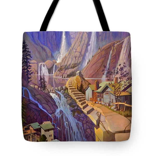 Tote Bag featuring the painting Fibonacci Stairs by Art James West