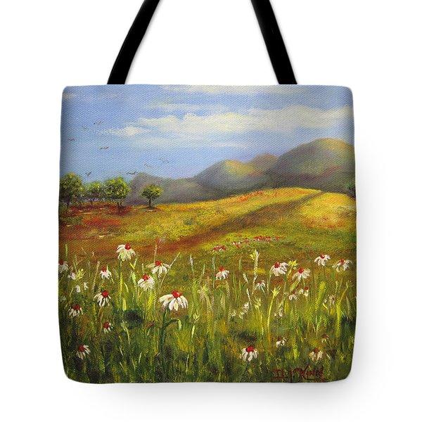 Field Of Daisies Tote Bag by Dottie Kinn
