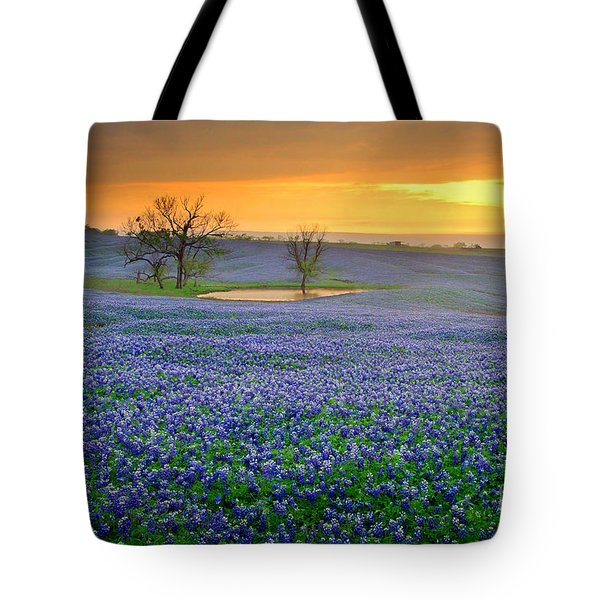 Field Of Dreams Texas Sunset - Texas Bluebonnet Wildflowers Landscape Flowers  Tote Bag by Jon Holiday