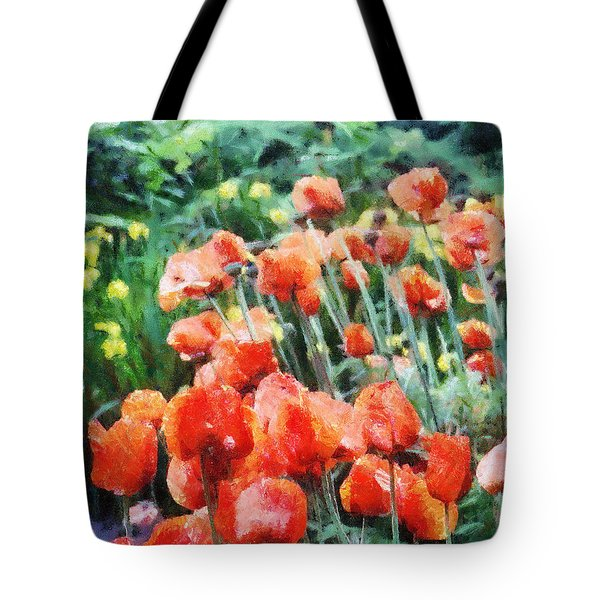 Tote Bag featuring the painting Field Of Flowers by Jeffrey Kolker