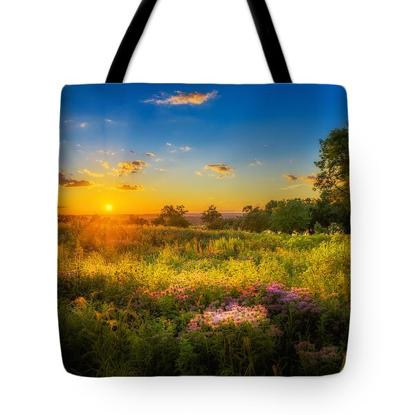 Field Of Flowers Sunset Tote Bag by Mark Goodman