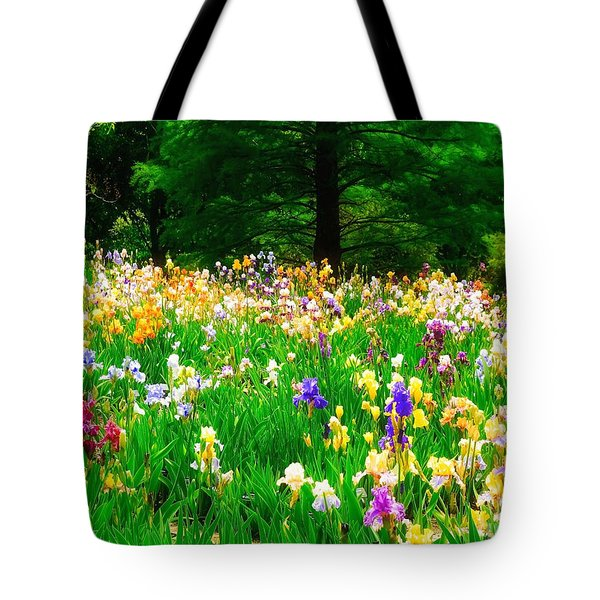 Field Of Iris Tote Bag by Peggy Franz