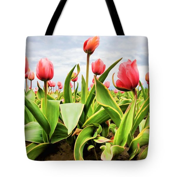 Tote Bag featuring the photograph Field Of Pink Tulips by Athena Mckinzie