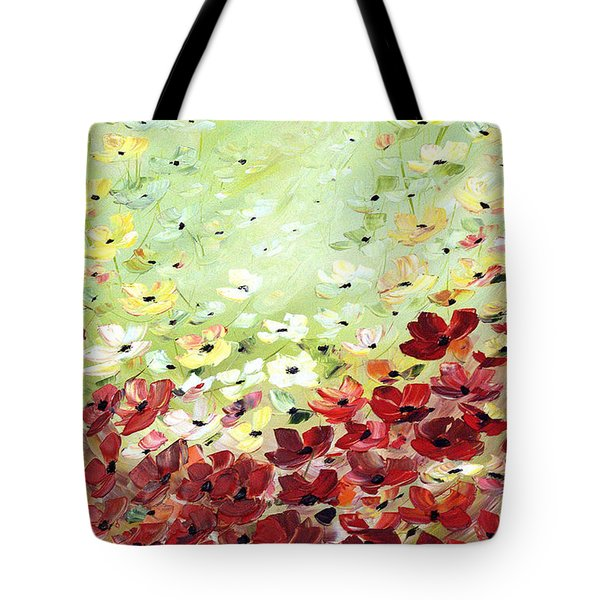 Tote Bag featuring the painting Field Of Poppies by Dorothy Maier