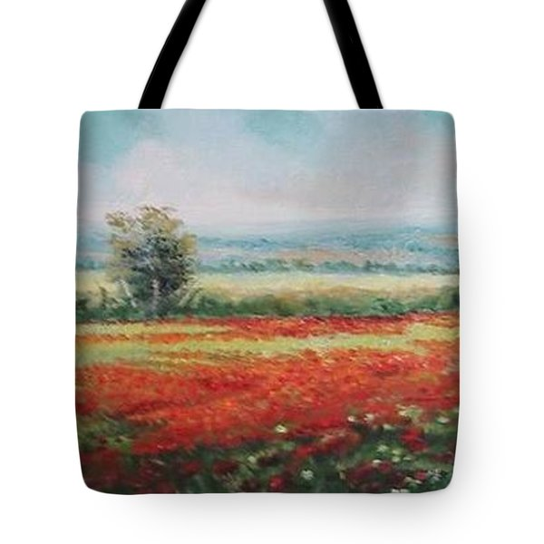 Tote Bag featuring the painting Field Of Poppies by Sorin Apostolescu