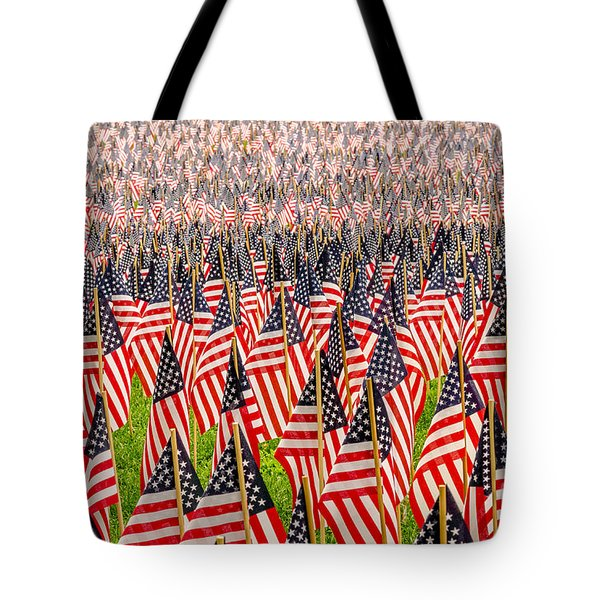 Field Of Us Flags Tote Bag by Mike Ste Marie