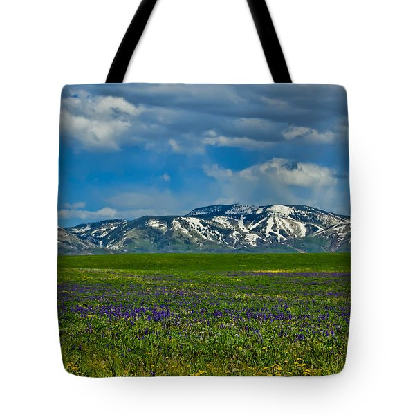 Tote Bag featuring the photograph Field Of Wildflowers by Don Schwartz