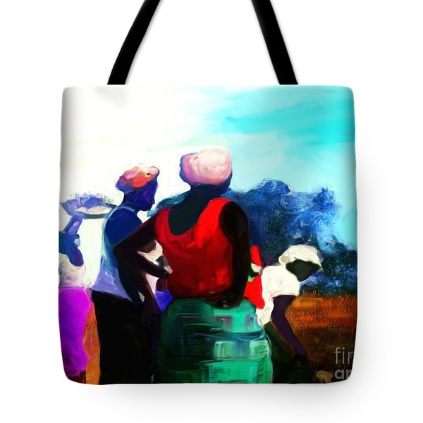 Tote Bag featuring the painting Field Women by Vannetta Ferguson