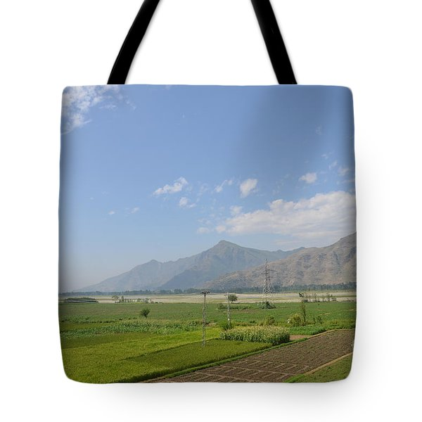 Tote Bag featuring the photograph Fields Mountains Sky And A River Swat Valley Pakistan by Imran Ahmed