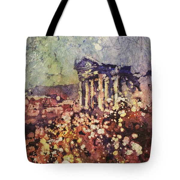 Fields Of Flower- And Roman Temple Tote Bag