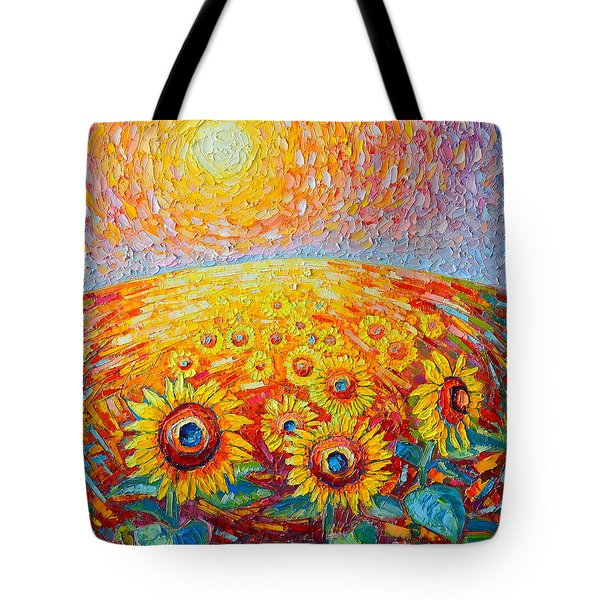 Fields Of Gold - Abstract Landscape With Sunflowers In Sunrise Tote Bag by Ana Maria Edulescu