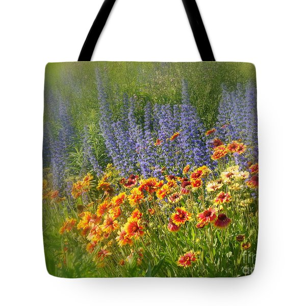 Fields Of Lavender And Orange Blanket Flowers Tote Bag by Lingfai Leung