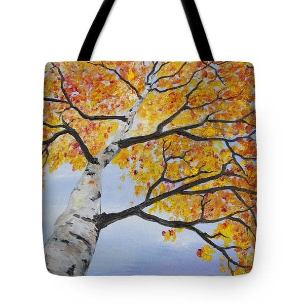 Tote Bag featuring the painting Fiery Aspen by Melinda Cummings