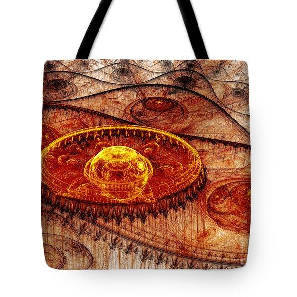 Fiery Fantasy Landscape Tote Bag by Martin Capek