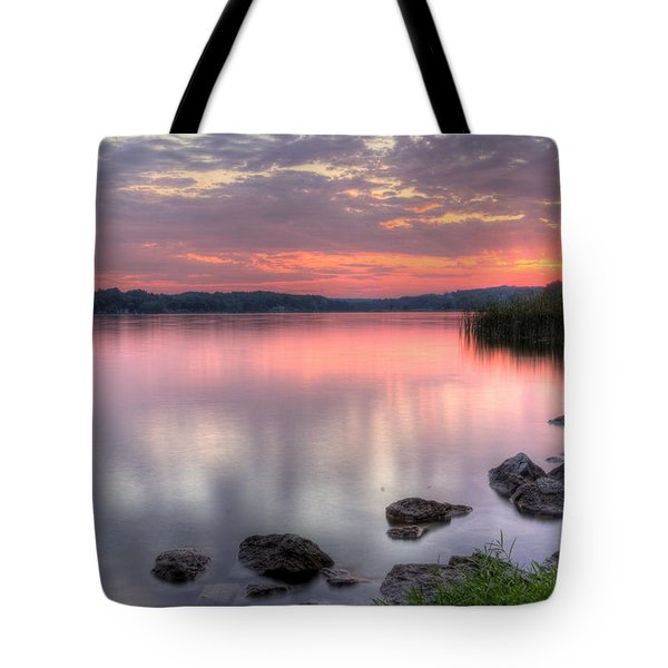 Fiery Lake Sunset Tote Bag